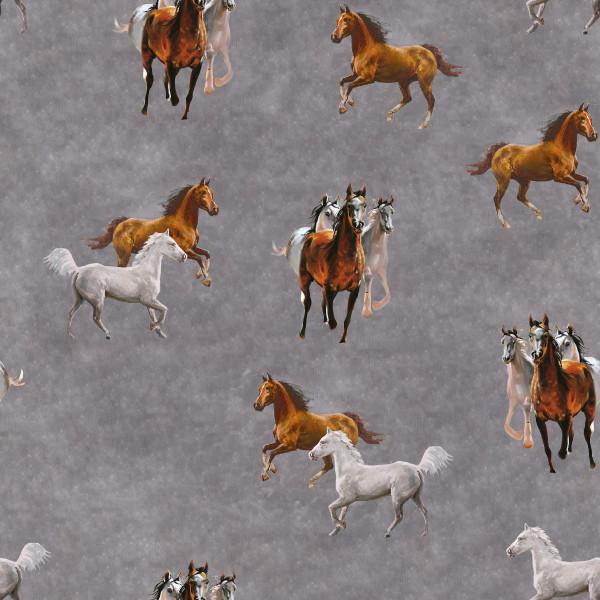 Marleen - B1950, Glünz GmbH, Pferde, grau , Mustang Jersey, Baumwolle