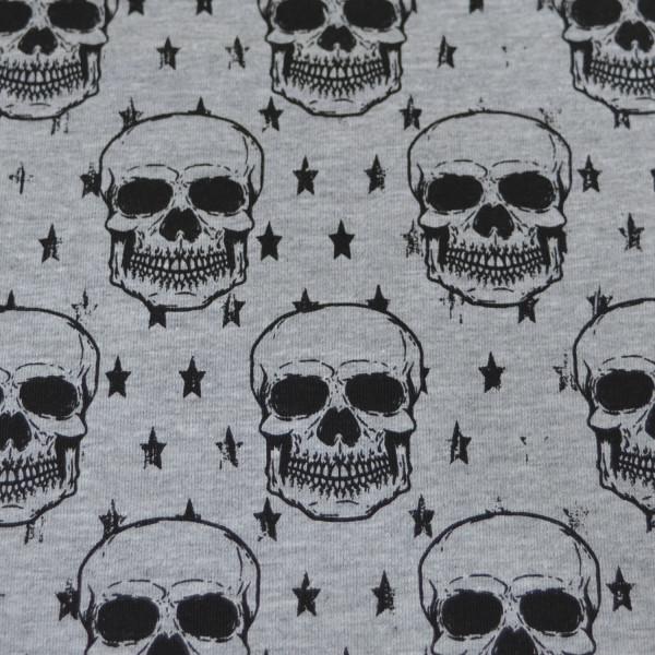 Z1400 Sally, Glünz GmbH, Baumwoll Jersey, Totenkopf, schädel, skull, stern, star, grau