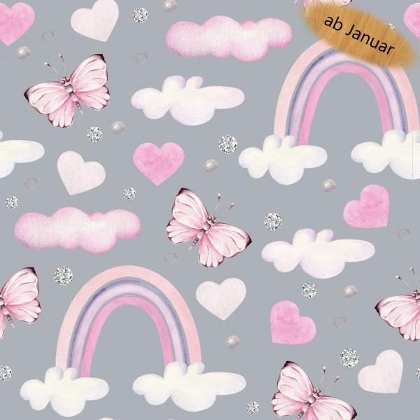 Z1443 Nikola, Glünz GmbH, Softshell, Wolke, Cloud, Butterfly, Schmetterling, Herz, Heart, Regenbogen, Rainbow