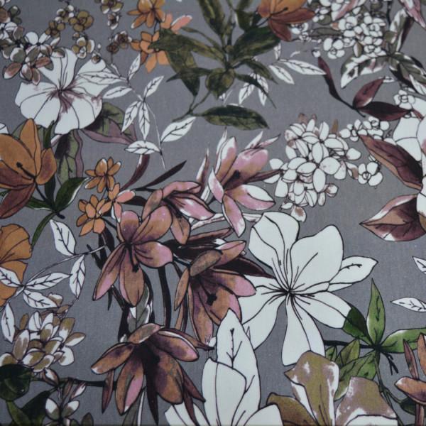 Glünz GmbH, Urwald, Blüten, Blätter, Dschungel, Jungle, Baumwolle, Jersey, grau