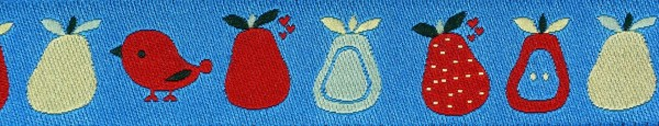 Webband (Vogel + Obst blau)