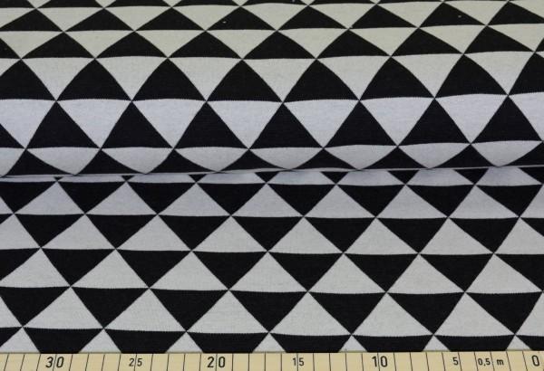 Strickjersey Dreiecke (schwarz) - B378
