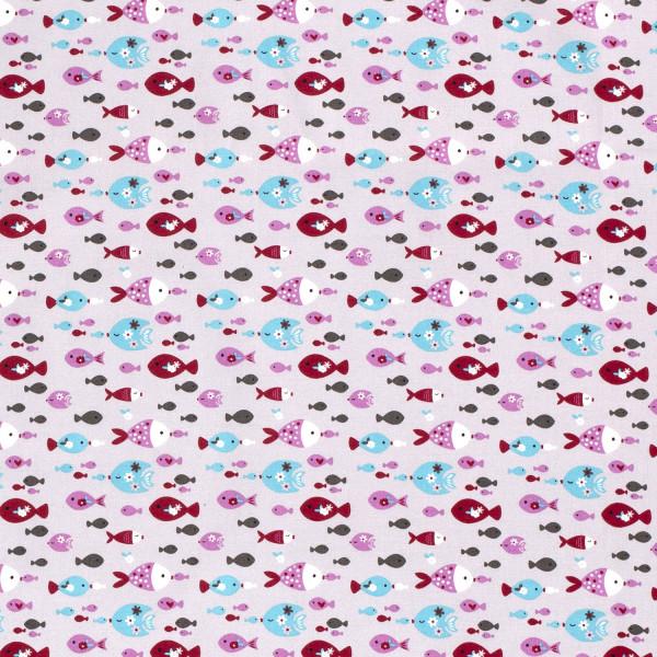 Jesper - Z1357, Glünz GmbH, Fische, meer, grau, pink, rosa