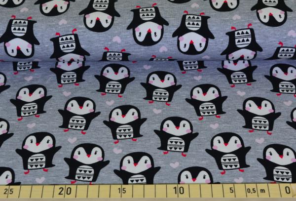 Pinguin mit Herzen (grau) - A454