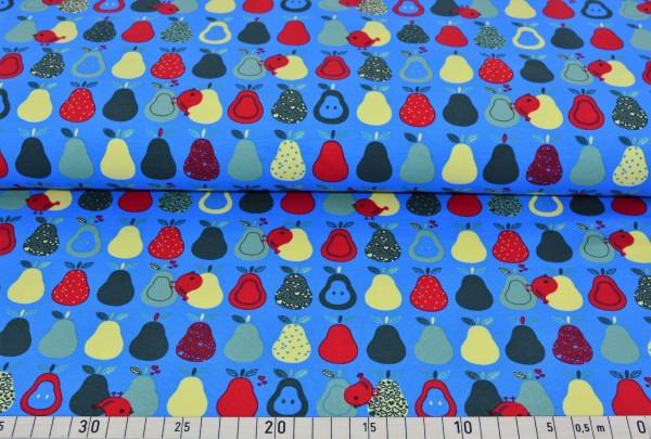 Vogel + Obst (blau) - B132