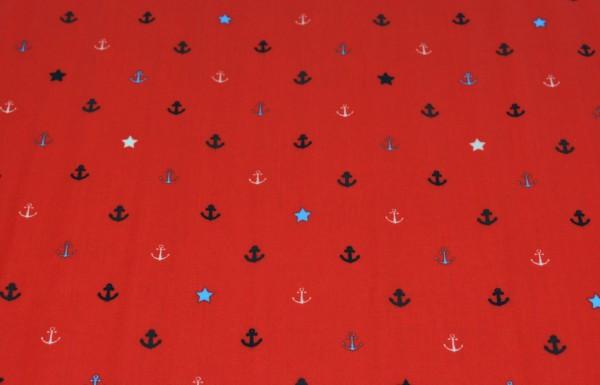 Anker + Sterne (rot) - X003