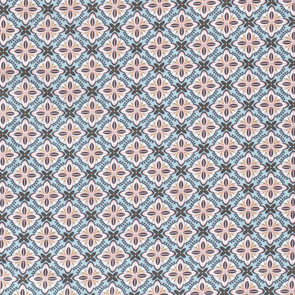 Marietta - Z1346, Glünz GmbH, Baumwolle, abstrakt, Blume, minze, türkis, blau